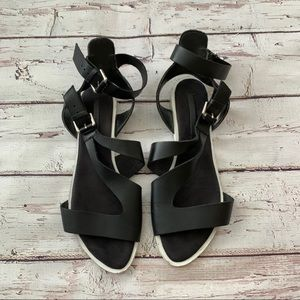 Zara ankle strap buckle black leather sandal
